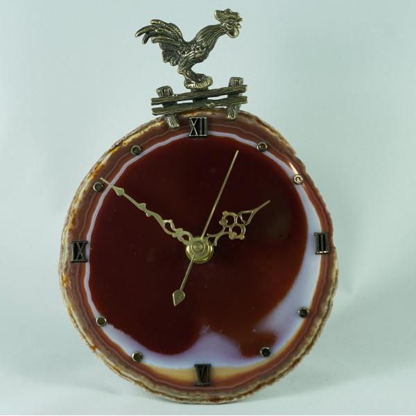 Часы из агата, петух на плетне