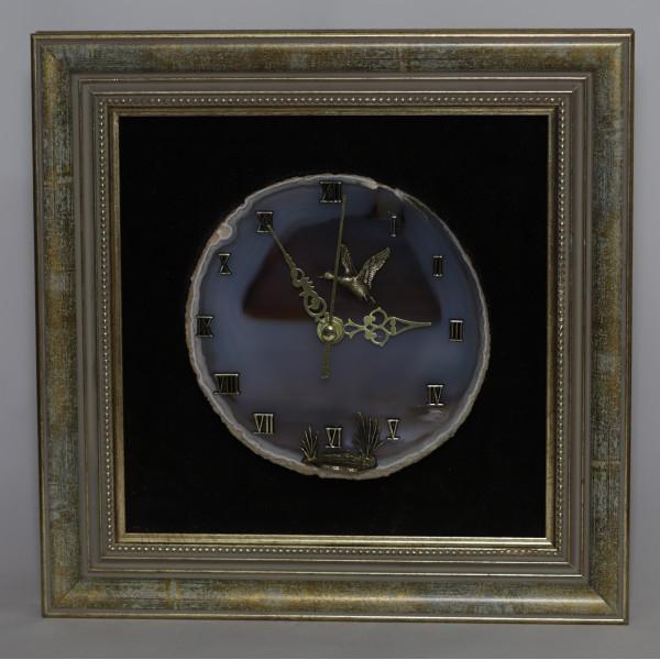 Часы картина из агата, утка, камыш