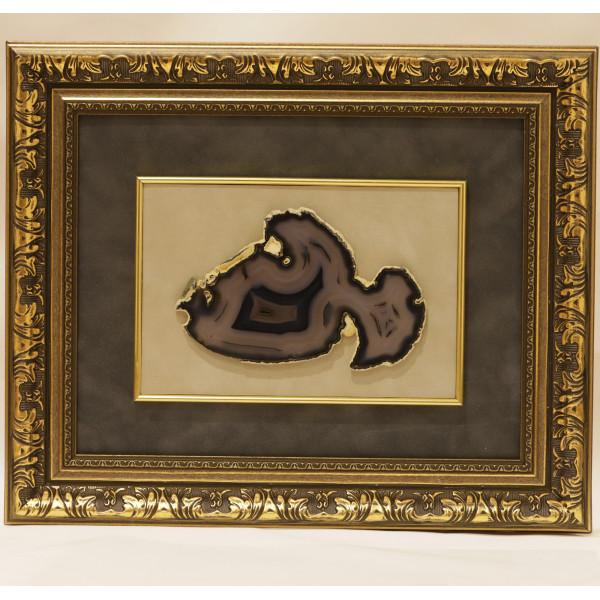 Картина срез агат в виде рыбы, багет, бархат